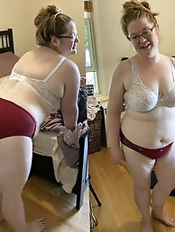Grannies and matures in lingerie, front and rear view